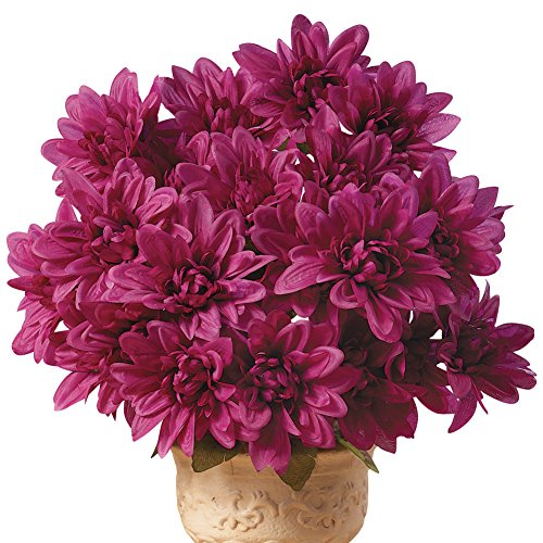 Collections Etc. Artificial Chrysanthemums, Low-Maintenance Colorful Artificial Flower Bouquets, Set of 3, Purple