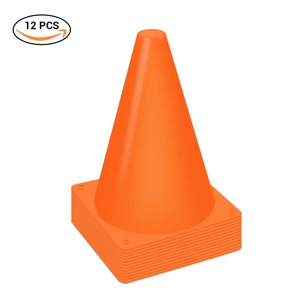 yeawooh 7.0インチプラスチックスポーツトレーニングTraffic Cone 12トラフィック安全コーンサインスポーツSoccer Football Training Cone (Set of 12 ) B07FMWBBZV オレンジ
