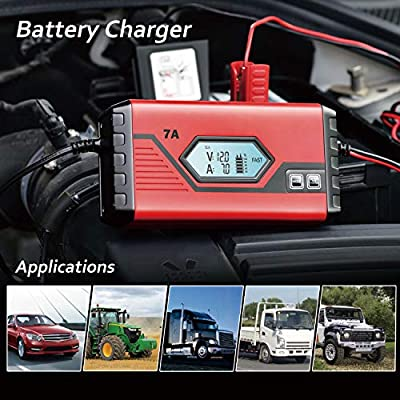 GOOSUO Battery Maintainer Fully-Automatic Smart Charger, 7-Amp/12V Trickle Charger for Cars Motorcycle Boat Tractor ATV RV Lawn Mower: Automotive