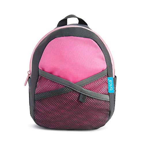 Munchkin Brica by-My-Side Safety Harness Backpack, Pink/Grey