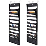 Hipiwe Over The Door Hanging File/Folder Organizer,10 Pockets Wall Cascading Storage Holder Chart For Office Bill Filing, Home Organization, Classroom,School,With 3 Over Door Hangers,Pack of 2 (Black)