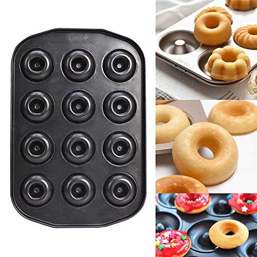 Doughnut Baking Tin, 12 Hole Doughnut Mold, Carbon Steel Cookie Mould, Non-stick DIY Homemade Cake Bake Tray Biscuit Bagel Baking Tool(black) by YOEDAF (Image #8)