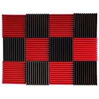"""(12 Pk) Red / Charcoal acoustic foam tiles soundproofing foam panels sound insulation soundproof foam padding sound dampening Studio sound proof padding 1"""" x 12"""" x 12"""""""