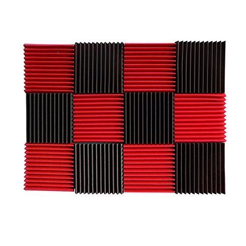 "(12 Pk) Red / Charcoal acoustic foam tiles soundproofing foam panels sound insulation soundproof foam padding sound dampening Studio sound proof padding 1"" x 12"" x 12"" 512BrPxV972BL"