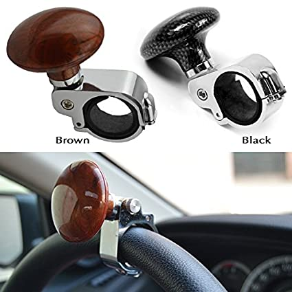 MeiBoAll Brown Hickory Car Auto Steering Wheel Suicide Spinner Handle Knob Booster