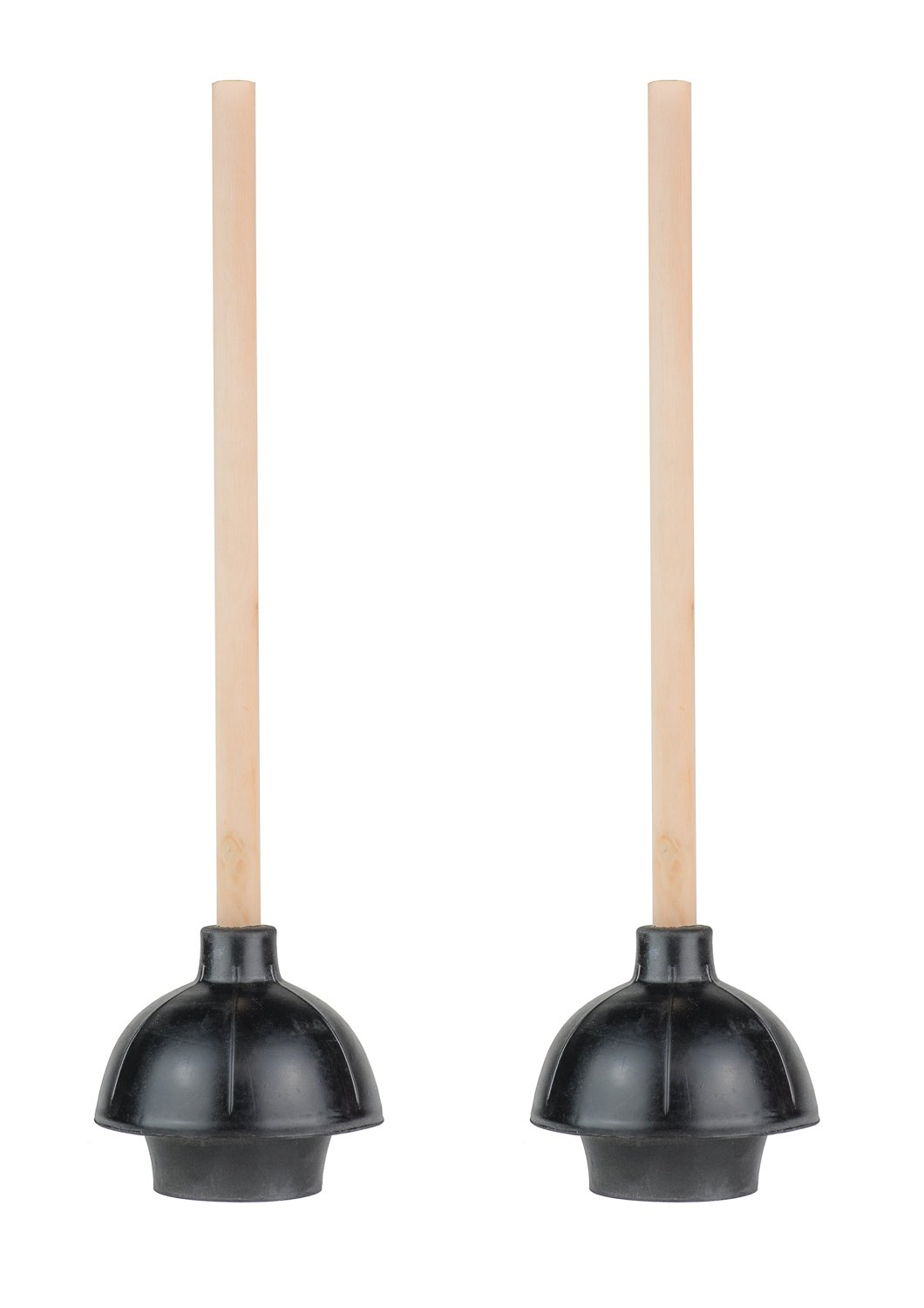 "SteadMax Rubber Toilet Plunger, Double Thrust Force Cup, Heavy Duty, Commercial Grade with 18"" Wood Handle (Pack of 2)"