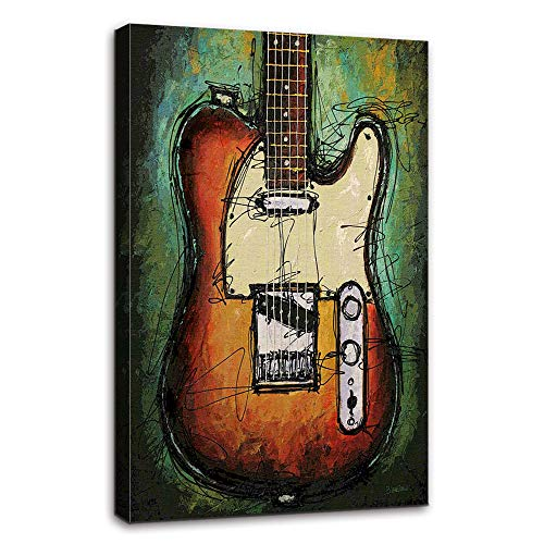 Abstract Wall Art Music Guitar Canvas Green Orange Prints Paintings Home Decor Decal Life Pictures Posters HD Printed for Bedroom Living Room Office Wooden Framed Ready to Hang