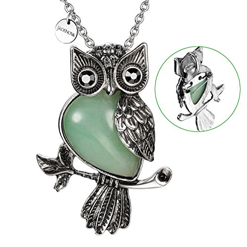 JADENOVA Antique Owl Brooch Pin Pendant Necklace Energy Healing Crystal Gemstone Rhinestone 20 Inches Stainless Steel Chain(Natural Aventurine) ()