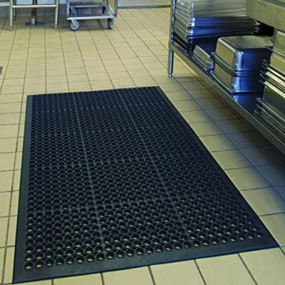 "Anti-Fatigue Rubber Floor Mats for Kitchen Bar, NEW Indoor Commercial Heavy Duty Floor Mat Black 36"" 60"" from Sallymall"