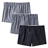 CYZ Men's 100% Cotton Classic Woven Boxers 3 Packs-StripeBlackPlaid-2XL