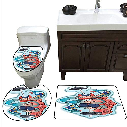 Fitness 3 Piece Toilet mat Set Strong is a Skinny Artistic Composition Birds Flowers Barbell Bathroom and Toilet mat Set Light Blue Dark Coral Grey -