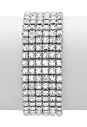 Six Row Clear Rhinestone Stretch Bangle Bracelet, Prong Set, ¾ Inch Wide, Silver-Tone