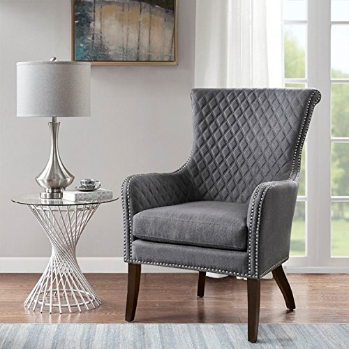 Modern Heston Morocco Wood Finish Accent Chair 100% Polyester (Grey)