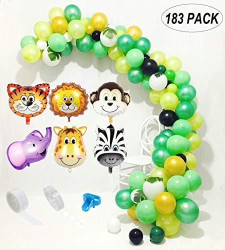 (Jungle Safari Theme Party Decorations 183pcs:150 latex balloons,6 mini jungle animal mylar balloons,24 Green Palm Leaves, 16 feets Arch Balloon strip tape,100 Dot Glue, 1 Balloon tying tools Safri party)