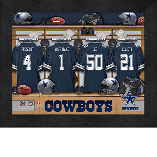 Personalized Dallas Cowboys Poster, Locker Room Jersey and Helmets Print Wall Poster with Frame for Living Room, Bedroom, or Office Use, Motivational Wall Art
