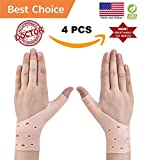 4 Breathable Gel Wrist & Thumb Support Braces for Right & Left Hand |Relief Pain for Carpal Tunnel, Rheumatism, Tendonitis, Waterproof, Great for Typing, Yoga, Pilates, Golf (ALL SIZES)