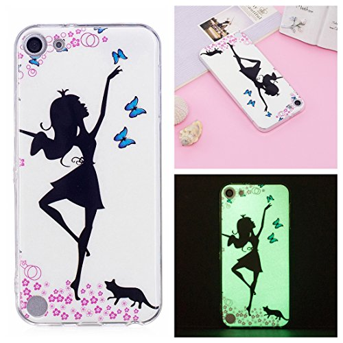 Pod Touch 5 Case, Love Sound Slim Fit [Glow in the Dark] [Shock-Absorption] Flexible Soft TPU Protective Case Cover for Apple iPod Touch 6th / 5th Generation - Dancing Girl ()