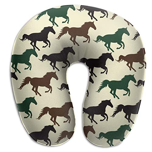 NiYoung Soft Polyester Compact Neck Pillow Neck & Head Support Sleeping Rest Cushion for Home Restful Sleep Car in Machine Washable (Wild Horse Racing) ()