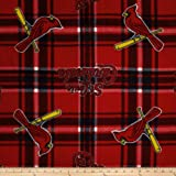 MLB Fleece St Louis Cardinals Plaid Red/Blue Fabric By The Yard