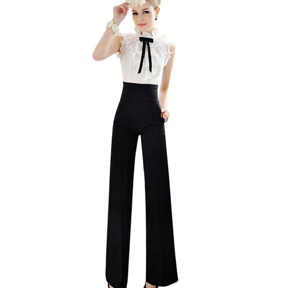 Willsa New Casual High Waist Flare Wide Leg Long Pants Palazzo Trousers For Women