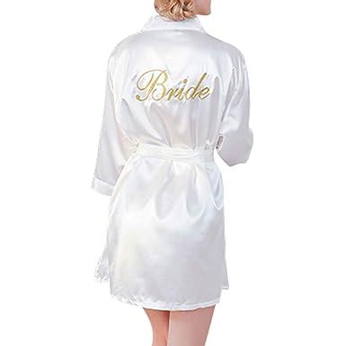 WEIMEITE Batas Mujer Color Puro Pantalón Corto Kimono Togas Satén Seda Regalo Banquete Boda Novia: Amazon.es: Ropa y accesorios