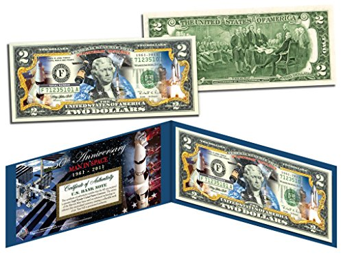 MAN IN SPACE * 50th Anniversary * Colorized Genuine Legal Tender US $2 Bill NASA (Signing Of The Declaration Of Independence Facts)