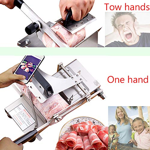 Manual frozen meat ctter slicer machine, 304 food stainless steel and German blade, cut vegetable kitchen products electric cheese bacon ham by GOSSOO (Image #3)