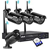 Zclever Wireless Security Camera System,4CH NVR WIFI CCTV Kit with 4pcs 720P Wifi IP Cameras,Outdoor/Indoor,65ft Night Vision,Waterproof,1TB HDD Pre-installed