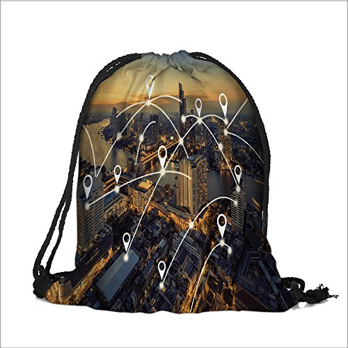 Bangkok Pin (Drawstring Backpack map pin flat above bangkok cityscape and network connection concept 3 Woman's Men's Print Sackpack(13.7W x 17.7L INCH))