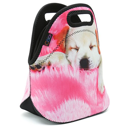 iColor Soft Boys Girls Waterproof Insulated Neoprene Lunch Container School Office Travel Outdoor Work Lunch Bag Tote Cooler Lunch Box Handbag Food Storage Carrying Bag (Sleeping Dag) HST-LB-005 by iColor (Image #4)