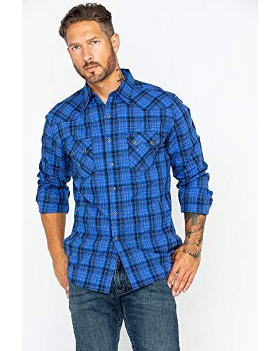 (Wrangler Men's Retro Medium Plaid Shirt Blue Large)