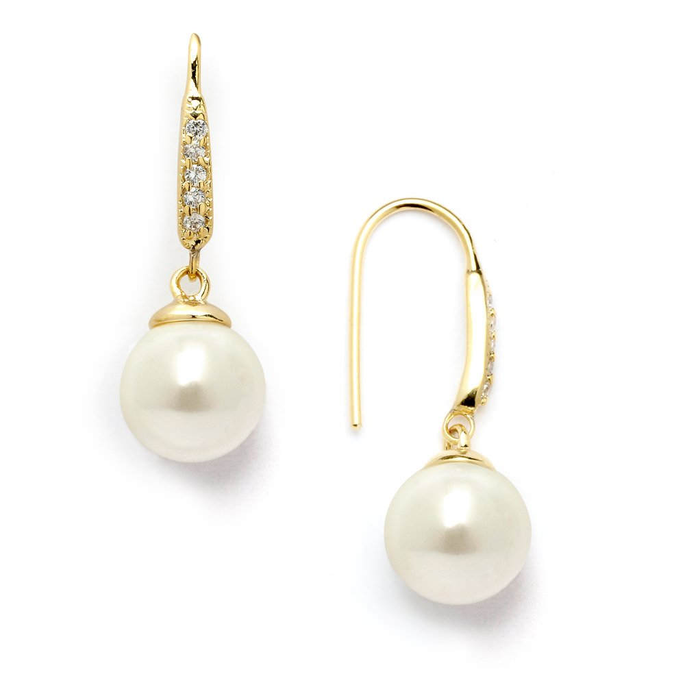 Mariell 14K Gold Plated Vintage French Wire Ivory Pearl Drop Earrings with Pave CZ - Bridal or Everyday