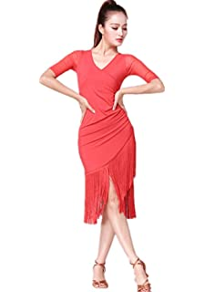 6f86418b9eb2 V Neck Women Latin Dance Dress Modern Ballroom Carmen Fringe Tango Dance  Skirt Red