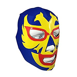 DOS Caras Youth Lucha Libre Wrestling Mask – Kids Costume Wear – Blue/Yellow
