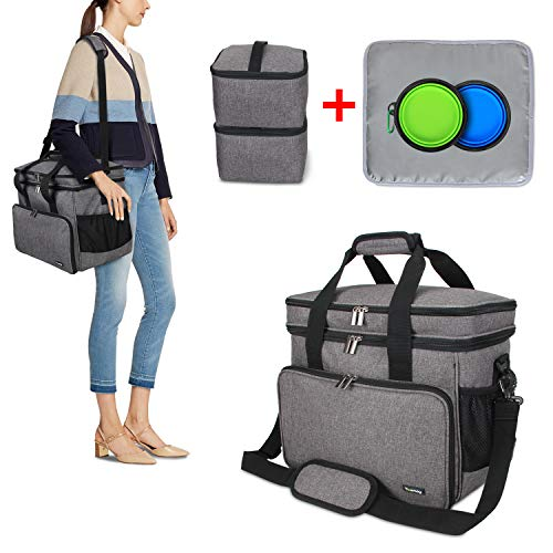 - Teamoy Double Layer Dog Travel Bag with 2 Silicone Collapsible Bowls, 2 Food Carriers, 1 Water-Resistant Placemat, Pet Supplies Weekend Tote Organizer(Medium, Gray)