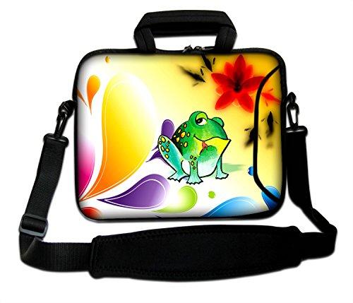 """Ektor - Funda blanda tipo bolsa para portátil de 10-17,6"""" con correa de hombro Frog & Flowers"""
