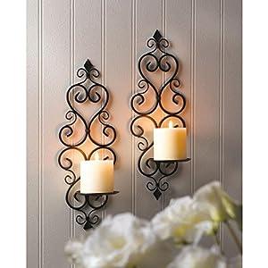 Amazon.com: Candles FLEUR-DE-LIS WALL SCONCE DUO Pillar Candle Iron Scroll Fleur de Lis: Home ...