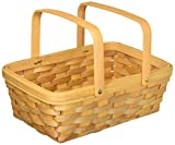 "Darice 2848-20 Wood Basket 12.5"" , Wood country Basket with Moveable Handles"