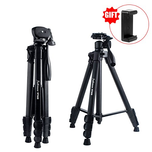 Camera Tripod 60 Inch Portable Travel Aluminum Lightweight Tripod For Canon Nikon Sony Olympus Dv Dslr Slr With Phone Clip Bubble Level Load Up To 10 Kg   Black