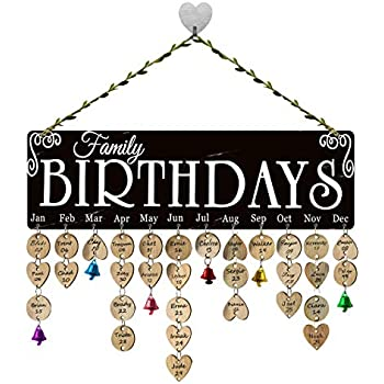 Amazon Com Famgift Wood Birthday Calendar Wall Plaque