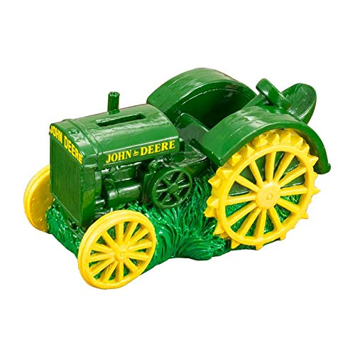 John Deere Vintage Tractor Polyresin Painted Savings Bank