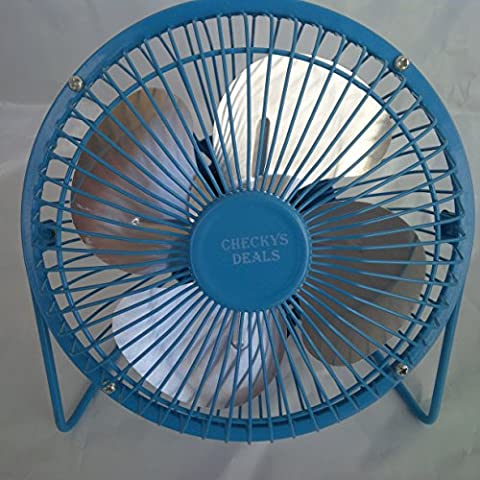 CHECKYS DEALS BLUE 6 INCH METAL BLADE AND CAGE DESK TOP FAN USB POWERED - Blue Little Fan