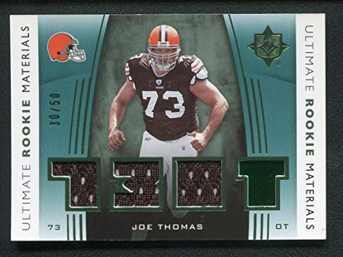 - 2007 Joe Thomas UD Ultimate Rookie Materials Cleveland Browns Upper Deck Certified NFL Card Game Used Jersey Football Trading Card #URM-JT #30/50