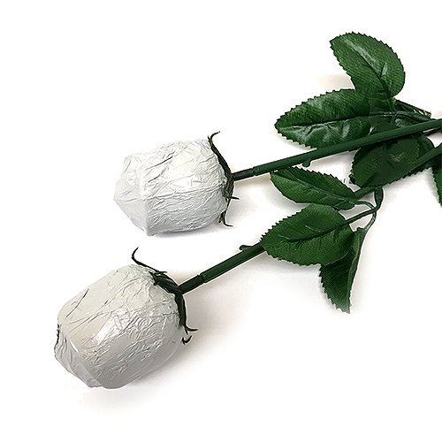 Valentine Gift White Foiled Belgian Milk Chocolate Color Splash Long Stem Rose Bouquet - Pack of 20