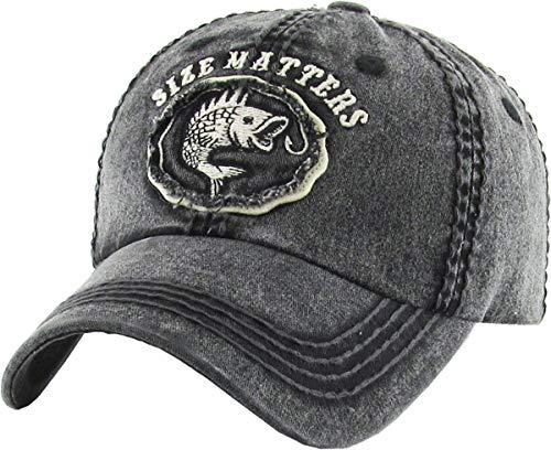 (BHM-205-SM-06 Mens Patch Baseball Cap - Size Matters - Black)