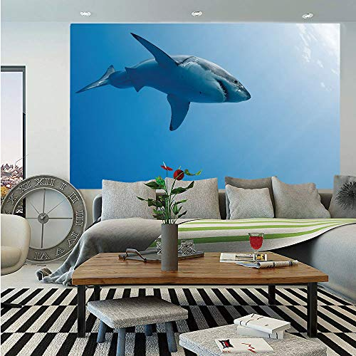 Shark Huge Photo Wall Mural,Fish Swimming in The Ocean Underwater Beauty Tropical Island Water Nature Landscape,Self-Adhesive Large Wallpaper for Home Decor 108x152 inches,Light Blue