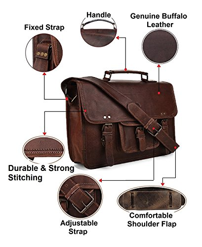 15 Inch Leather Vintage Rustic Crossbody Messenger Courier Satchel Bag Gift Men Women ~ Business Work Briefcase Carry Laptop Computer Book Handmade Rugged & Distressed ~ Everyday Office College School by RusticTown (Image #3)