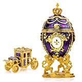 "Unique, Decorative Purple Faberge Egg: Extra Large 6.6"", Hand Painted Jewelry Box for the Ultimate Home Décor 