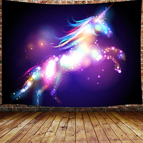 JAWO Animal Theme Colorful Unicorn Tapestry Wall Hanging Decoration, Bright Spots with Black Background, Wall Tapestry for Dorm Living Room Bedroom, Wall Blanket Beach Towels Tapestry Home Decor