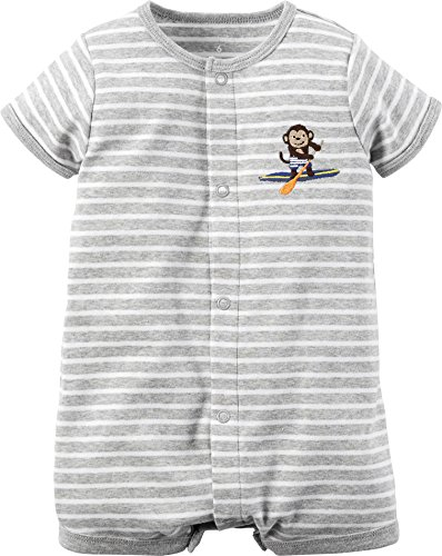 [Carter's Baby Boys 1-piece Creeper (6M, Grey Monkey)] (Monkey Outfits For Toddlers)